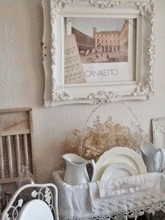 . . . Cabin & Cottage : Setting A Cozy French Country Table {For the hutch with the battenburg lace napkins}