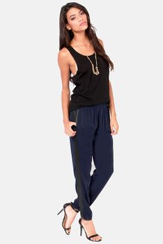 Chill Out Cropped Black and Navy Blue Pants at LuLus.com! #lulus #holidaywear