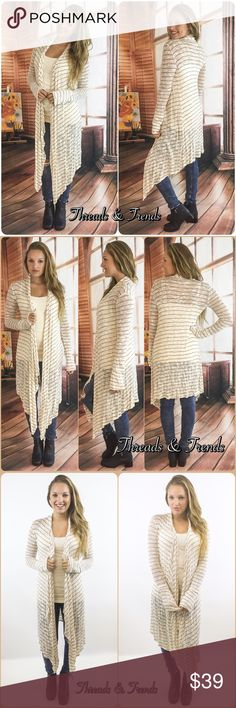 """NWT Cream Striped Jersey Knit Maxi Cardigan Duster NWT Cream Striped Maxi Cardigan Duster   Available in S, M, L Measurements taken from a small  Length: 56"""" Bust: 36"""" Waist: 36""""  Rayon/Spandex blend  Features • striped all over • open front • cascading, long draped sides • longer length • long sleeves • soft breathable jersey knit material  • has stretch   Bundle discounts available  No pp or trades  Item # 1/2PP11140390SMC striped maxi long loose knit slouchy cozy cardigan sweater duster…"""