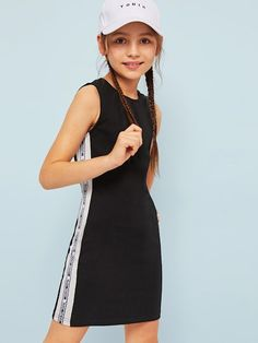 To find out about the Girls Letter Tape Color-block Tank Dress at SHEIN, part of our latest Girls Dresses ready to shop online today! Cute Girl Outfits, Kids Outfits Girls, Sporty Outfits, Girls Dresses, Girls Fashion Clothes, Teen Fashion Outfits, Kids Fashion, Jugend Mode Outfits, Kind Mode