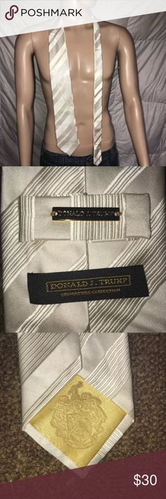 Donald J. Trump Signature White 100% Silk Tie Men's Donald J. Trump Signature Collection  Color - White  Hand Made in China  100% Silk  Excellent Pre-Owned Condition Smoke Free Home Donald Trump Accessories Ties