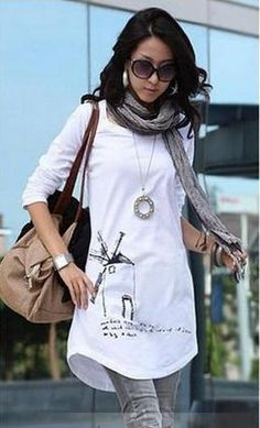 White T-shirt Tunic - DIY your own art/pattern/design