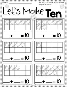 math worksheet : skill counting on use 10 frame and number cards record in math  : Free Winter Math Worksheets