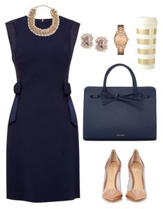 """Non-Boring Work Outfit 4"" by onyxbertha on Polyvore featuring Ted Baker, Gianvito Rossi, Mansur Gavriel, Valentino, GUESS and Kate Spade"