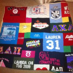 Greek love! A quilt my mom made of my sorority and my fiancés fraternity shirts! Best wedding gift ever!