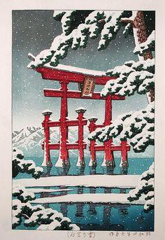 Kawase Hasui . Snow at Miyajima