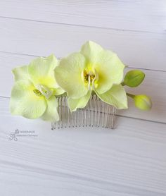 Orchid hair comb Bridal head piece Wedding headband Women flower for her Summer outdoors party Idea gift flower lime green orchid girl