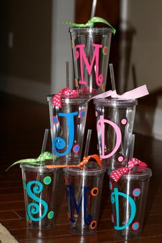 Personalized acrylic cups with monogram or initial or name