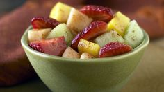 MEXICAN FRUIT SALAD. - This Delectable Salad is Made with Mango, Melon, Strawberries, Pineapple, Orange Juice, Lime Juice, Sugar, Salt, and Ancho Chile Powder.