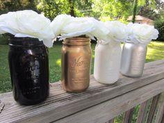 Gold, Silver, White, Black Mason Jar, Wedding Decor, Baby Shower Decor, Home Decor, Flower Vase, Quart Size on Etsy, $8.00