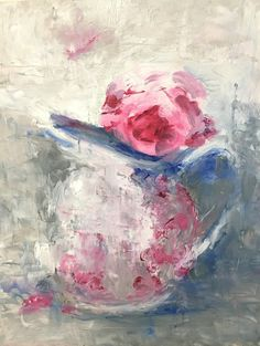 """""""Alone with a Palette Knife"""" is an original painting, made with a palette knife instead of a brush. The focal point is a single rose of deep pink, alone in a small pitcher. But it's the bold textures"""