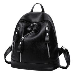 Faux Leather Zipper Backpack Black ($15) ❤ liked on Polyvore featuring bags, backpacks, faux leather rucksack, day pack backpack, zipper backpack, zip close bags and faux leather backpack