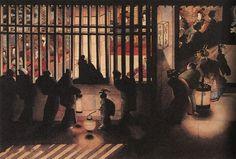 葛飾応為-吉原格子先之図 葛飾北斎の三女 お栄の作品