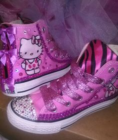 custom hello kitty converse for kids. Cool Converse, Converse Style, Kids Converse, Diy Fashion, Fashion Shoes, Hello Kitty Shoes, Shoe Crafts, School Shoes, Cute Shoes