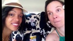 """In the car on the way to the Trenton Film Fest, Valisa and Jen made a little """"MomCave LIVE"""""""