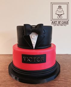 "James  Bond ""007"" Tuxedo Birthday Cake black and red"