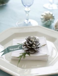 Winter White Place Setting with a Snowy Pinecone