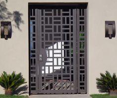 Contemporary Metal Gate Panels Steel Wrought Iron Custom Garden Entry Walk Thru Metal Gates, Wrought Iron Gates, Window Grill Design, Fence Design, Door Gate Design, Grill Gate Design, Entrance Design, Steel Gate, Steel Doors