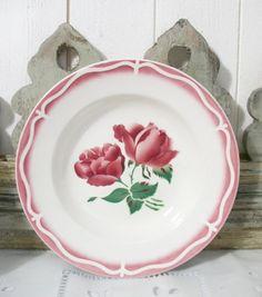 Ancienne assiette DIGOIN les roses 1950