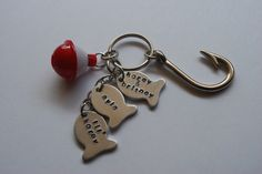 Hand stamped little fish, hook, and bobber keychain - pinned by pin4etsy.com