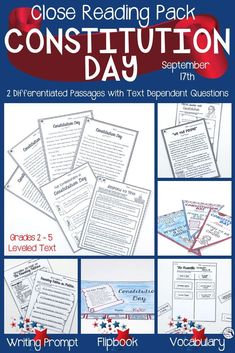 This differentiated close reading pack will give you 5 days of Social Studies content and activities for Constitution Day! Your students can use close reading skills, graphic organizers, text based questions, vocabulary, and a writing prompt to learn more about the Constitution. Use for whole group, small group, centers, early and fast finishers. Click here to see more! #ConstitutionDay #closereadingskills #grades2-5 #teachingintheheartofflorida Common Core Social Studies, 4th Grade Social Studies, Teaching Social Studies, Close Reading Activities, 1st Grade Activities, Guided Reading, Learning Objectives, Teaching Strategies, Teaching Ideas