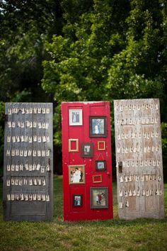 Love this idea for displaying photos at your wedding, personally, I would prefer a white door with my wedding theme. Beautiful idea though!