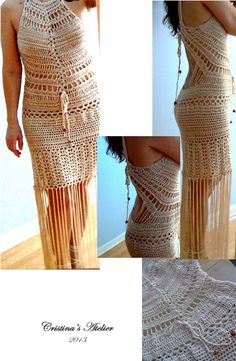Isis crochet dress. Elegant sexy bare back by Cristinasatelier, $535.00