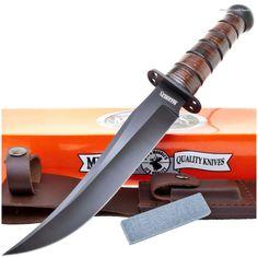 Marbles MR246 Jet Pilot Bowie Knife w/ Leather Sheath + Stone | MooseCreekGear.com | Outdoor Gear — Worldwide Delivery! | Pocket Knives - Fixed Blade Knives - Folding Knives - Survival Gear - Tactical Gear