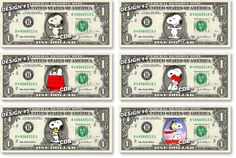 SNOOPY  Peanuts  on REAL Dollar Bill by CelebrityDollarBills