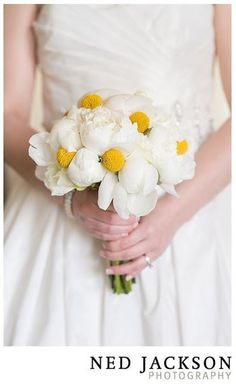 White and yellow - always a perfect color combo:) Pretty bouquet by Ideas in Bloom, LLC on http://WedOverHeels.com | Photo by nedjackson.com