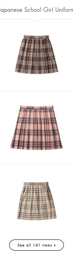 """""""Japanese School Girl Uniform"""" by girlwithherheadintheclouds ❤ liked on Polyvore featuring skirts, bottoms, clothing - skirts, brown skirt, pink, rosette skirt, pink skirt, red skirt, red rose skirt and rose skirt"""