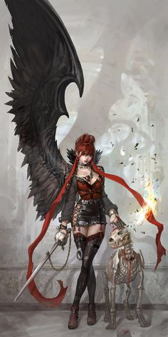 Evil and dog Picture  (2d, illustration, fantasy, girl, woman, demon)