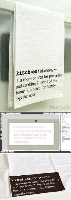 Stenciled tea towel tutorial & Silhouette free cut file, by Jessica Anderson at Cutesy Crafts: http://www.cutesycrafts.com/2013/07/definition-art-tea-towels.html