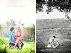 couple sitting looking at each other during Austin engagement session