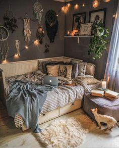 Cute Bedroom Decor, Room Design Bedroom, Room Ideas Bedroom, Boho Teen Bedroom, Teen Bedrooms, Kids Bedroom, Master Bedroom, Cozy Room, Dream Rooms