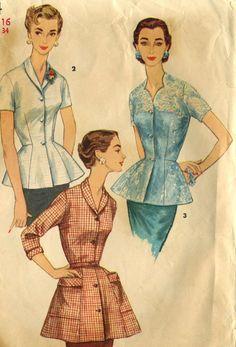 Vintage 50s Simplicity 1344 Misses CUT Overblouse by RomasMaison