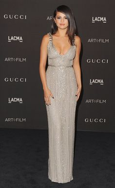Selena Gomez at the 2014 LACMA Art + Film Gala Honoring Quentin Tarantino And Barbara Kruger. Makeup by Jake Bailey. Styled by Kate Young.