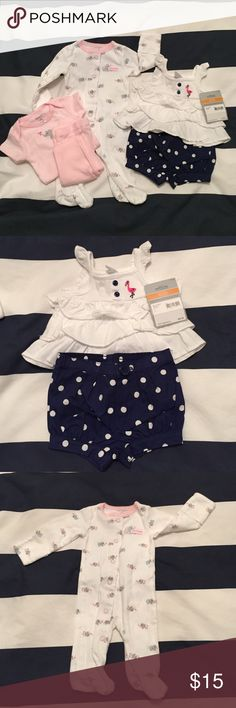 Carter's Newborn Outfits Cute NWT bubble shorts and ruffle top. Elephant sleeper and coordinating onesie and pants do are NWOT. Carter's One Pieces Bodysuits