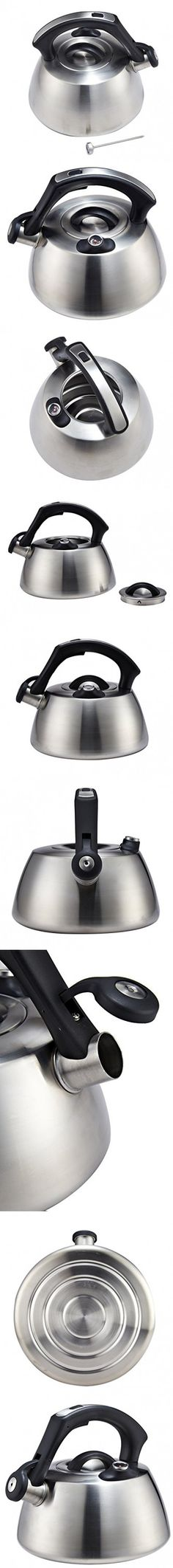 Whistling Tea Kettle 8 Cups to Boil Water on Stove Top in Quality Modern Brushed Stainless Steel