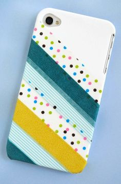 Decorate a plain cell phone case with washi tape - makes a perfect gift for a tween!