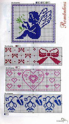 Love the bows Stitch And Angel, Cross Stitch Angels, Cross Stitch Bookmarks, Cross Stitch Heart, Cross Stitch Borders, Cross Stitching, Cross Stitch Embroidery, Hand Embroidery, Cross Stitch Patterns