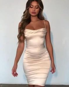 Satin Dresses, Tight Dresses, Simple Dresses, Sexy Dresses, Short Dresses, Fashion Dresses, Glamour Fashion, Classy Street Style, Celebrity Style Casual