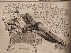 1892 Surbrug Golden Sceptre Pipe Tobacco Man Smoking Ad