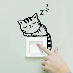 Removable Wall Stickers Cartoon Cat Light Switch Art Mural Home Decor Decals Wall Stickers Cats, Removable Wall Stickers, Wall Decals, Wall Vinyl, Stickers For Walls, Bedroom Wall Stickers, Phone Stickers, Mural Wall, Vinyl Decals