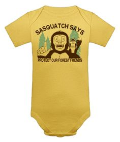 "Tiny Whales ""Sasquatch Says"" Onesie in Yellow. Spring/Summer 2013."