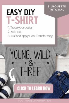 I just made this adorable shirt using my Silhouette Cameo machine and it took me no time at all with these easy Silhouette Tutorial on how to make a custom design in Silhouette Studio! I can't wait for my son to wear it on his 3rd birthday! #footprintsofinspiration #silhouettetutorial #silhouette #cameo #svgfile #vinyldiy #easydiygifts Silhouette Cameo Tutorials, Silhouette Cameo Machine, Silhouette Projects, Silhouette Design Studio, Custom Made Shirts, Easy Diy Gifts, Cricut Tutorials, T Shirt Diy, Heat Transfer Vinyl