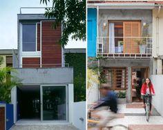 casa estreita geminada. Esquadria em madeira e concreto aparente