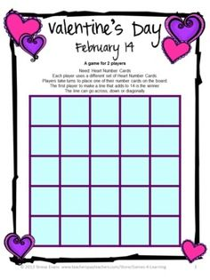 FREEBIE - Valentine's Day Math Game by Games 4 Learning is a printable Valentine's Day Math Board Game.