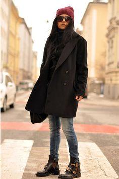 black derby cut out balenciaga boots, trench coat beanie