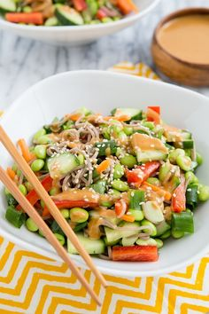 Thai Peanut Empowered Noodle Bowl from The Oh She Glows Cookbook Gray Gray Liddon My Veggies Oh She Glows Cookbook, Whole Food Recipes, Cooking Recipes, Cookbook Recipes, Clean Eating, Healthy Eating, Vegetarian Recipes, Healthy Recipes, Yummy Recipes
